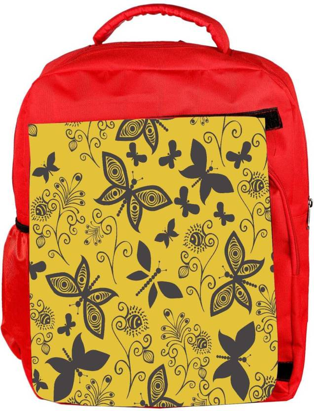 58aa04b04a73 Snoogg Eco Friendly Canvas Black Butterfly Yellow Pattern Designer Backpack  Rucksack School Travel Unisex Casual Canvas Bag Bookbag Satchel 5 L Backpack  ...