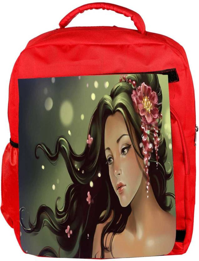 f723bced58 Snoogg Eco Friendly Canvas Princess Girl Designer Backpack Rucksack School  Travel Unisex Casual Canvas Bag Bookbag Satchel 5 L Backpack (Red)