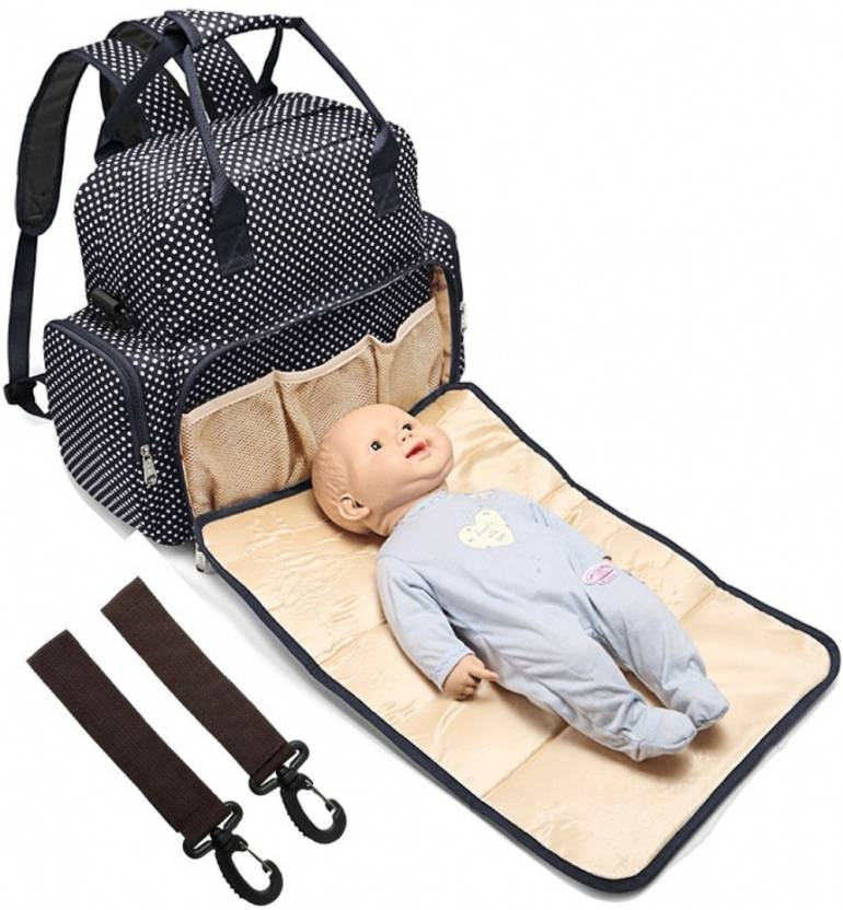 82f1702306682 Babymoon Multi Function 5 in 1 Waterproof 5 in 1 Polka Dotes Premium High  Quality Waterproof Backpack Nappy Bag / Diaper Bag / Mother Bag (Black)