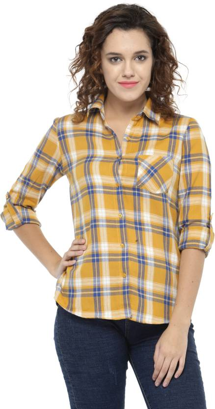 Hive91 Women Checkered Casual Yellow Shirt