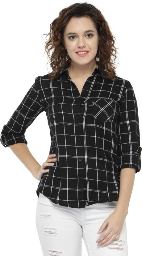 Hive91 Women Checkered Casual Black Shirt