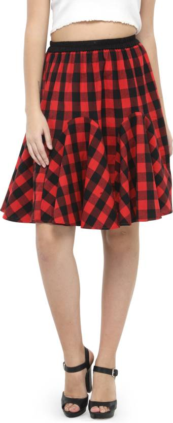 Hive91 Checkered Women Pleated Red Skirt