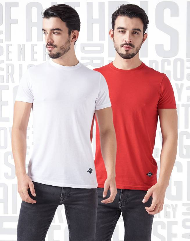 Metronaut Solid Mens Round Neck White, Red T-Shirt  (Pack of 2)