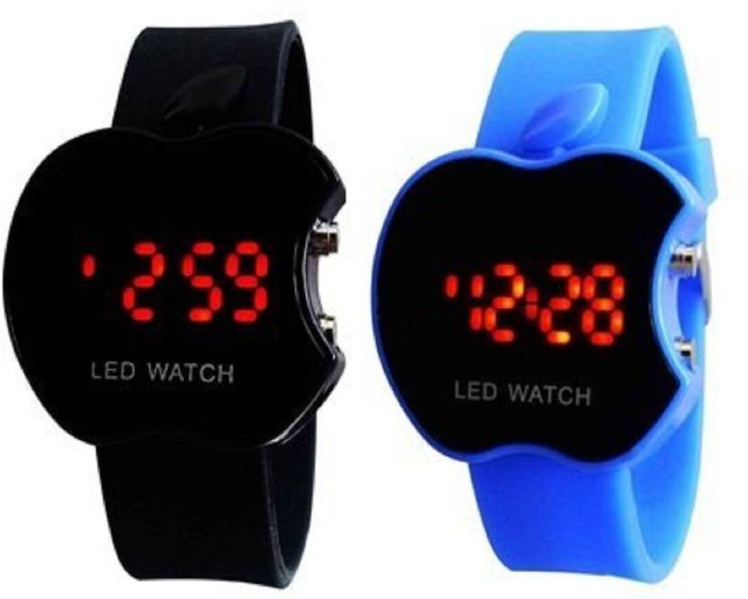 Blutech Apple Shape Combo Watches For Kids Stylish Button Good Gift Watch For Boys Girls