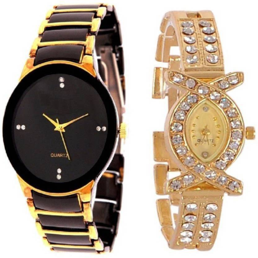 a3ff6beb2a45 blutech gold black+ x shape couple watch good gift for womens and mens Watch  - For Men   Women - Buy blutech gold black+ x shape couple watch good gift  for ...