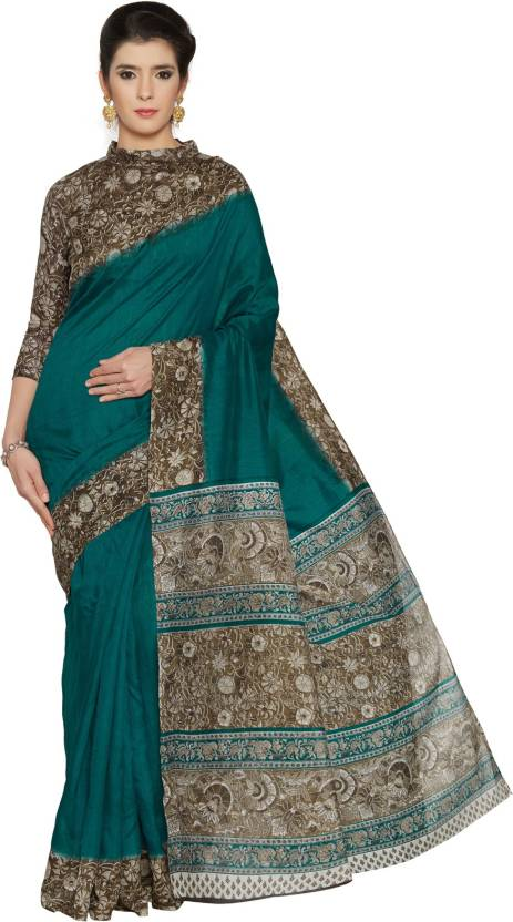 2c6459e6405f3 Buy Mirchi Fashion Printed Kalamkari Art Silk Dark Green Sarees ...