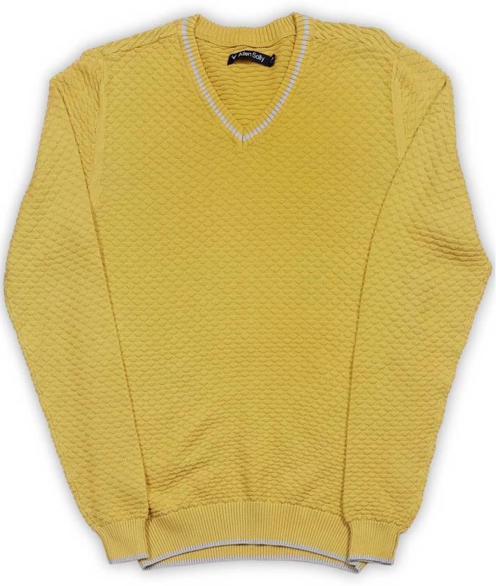 04bcea898 Allen Solly Junior Self Design V-neck Casual Boys Yellow Sweater ...