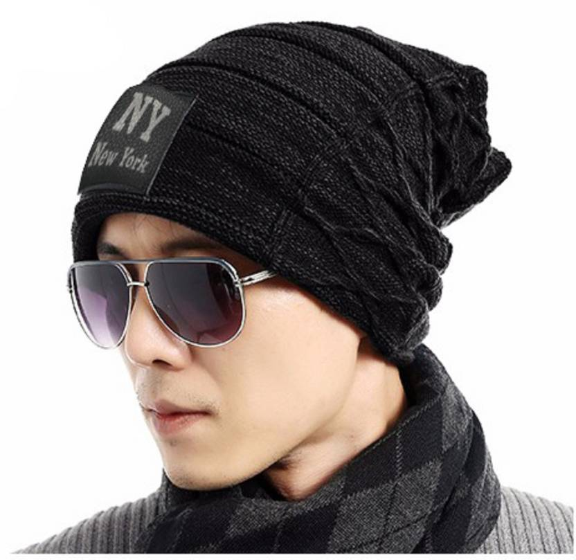 Friendskart Solid NY Beanie Solid Black Winter Woolen Cap Cap Cap - Buy  Friendskart Solid NY Beanie Solid Black Winter Woolen Cap Cap Cap Online at  Best ... 566ae384e
