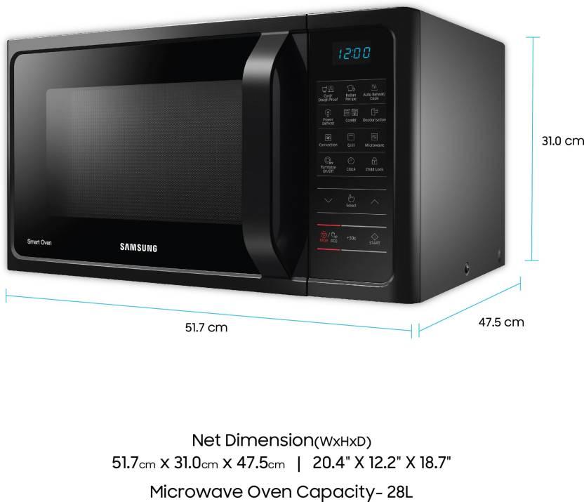 Samsung 28 L Convection Microwave Oven Mc28h5023ak Tl Black