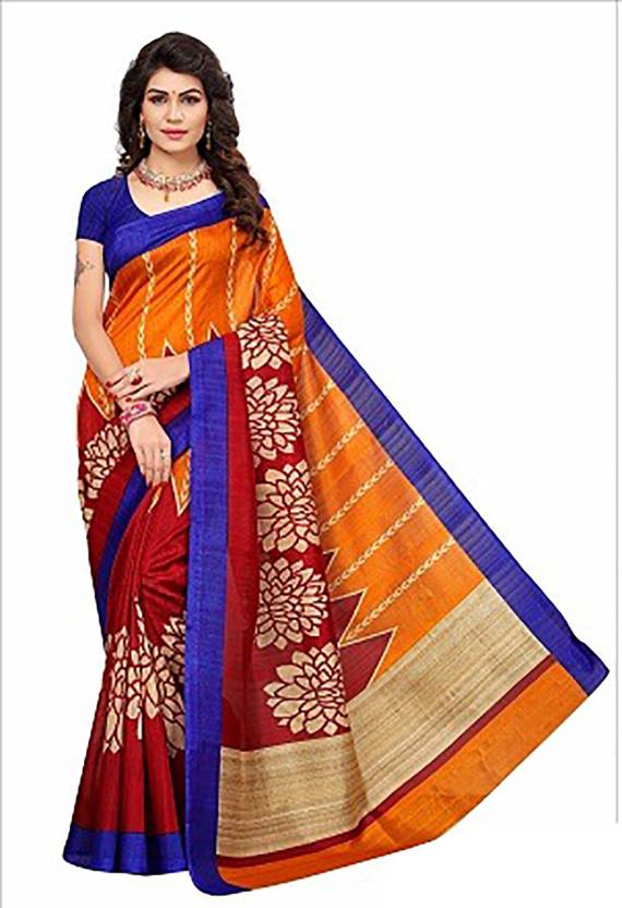 f0250490f Buy Ishin Printed Mysore Art Silk Red Sarees Online   Best Price In ...