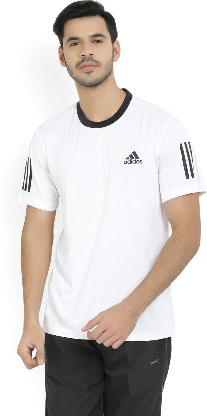 1142658ee48 ADIDAS Solid Men s Round Neck White T-Shirt - Buy White ADIDAS Solid Men s  Round Neck White T-Shirt Online at Best Prices in India