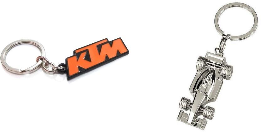 KD COLLECTIONS F1 Ferrari Car Shape bike Keychain (Silver