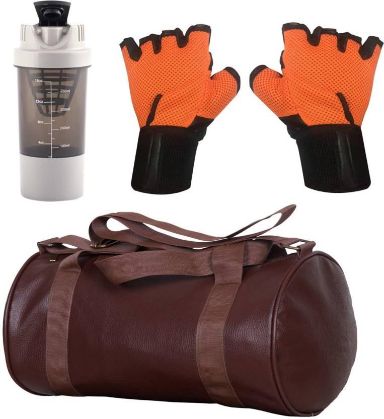 6e0f2582a1af Cp Bigbasket Combo Set Leather Soft Gym Bag (Brown)