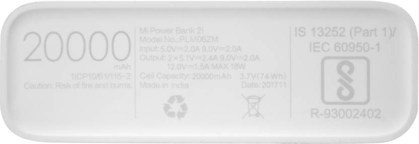 Mi 20000 mAh Power Bank (PLM06ZM, 2i)