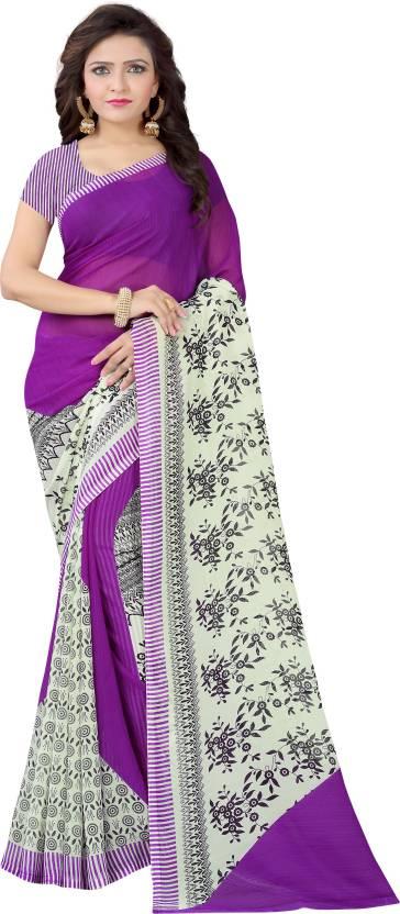 Vimalnath Synthetics Floral Print Fashion Georgette Saree  (Purple)