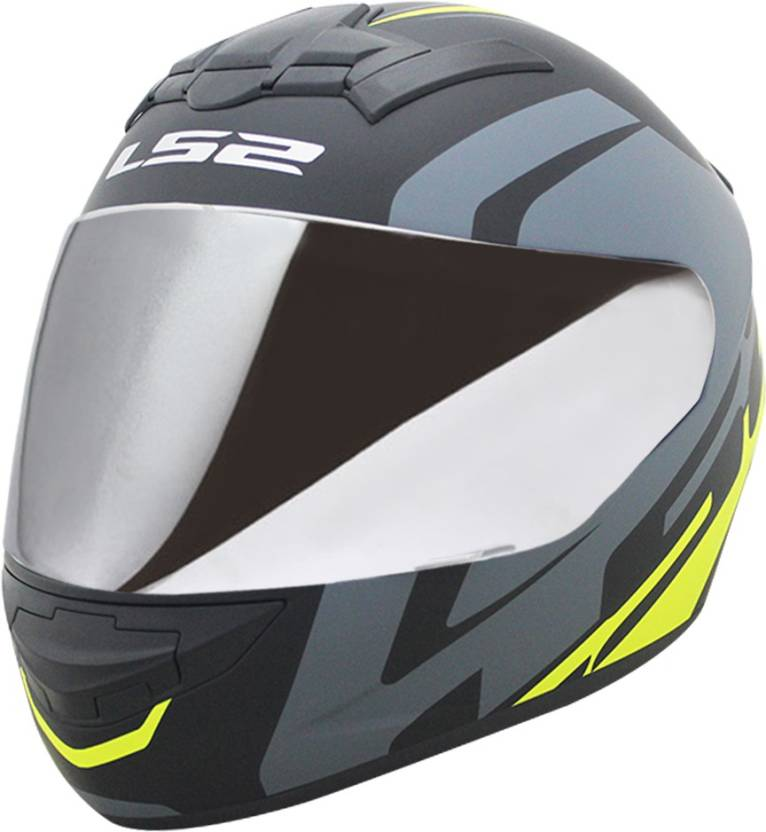 935ff778 LS2 Helmet FF352-L Touring Matt Black Grey H1-Vis Yellow With Mercury Visor  Motorbike Helmet (Multicolor)