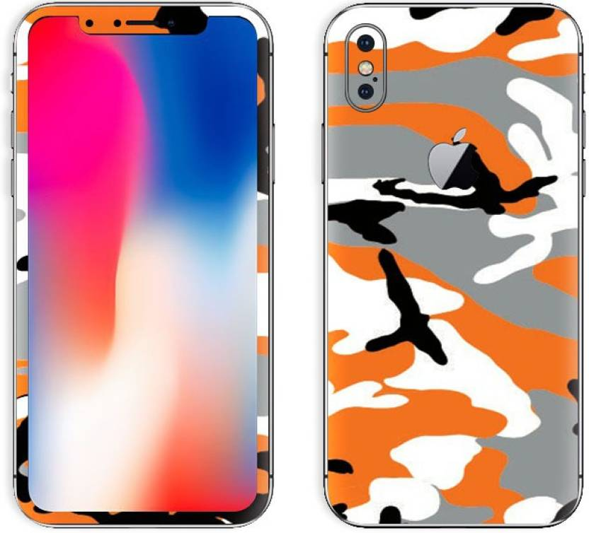 meet ab084 d5471 GadGets Wrap iphn-x-Orange Camo Skin for Front & Back of Apple ...