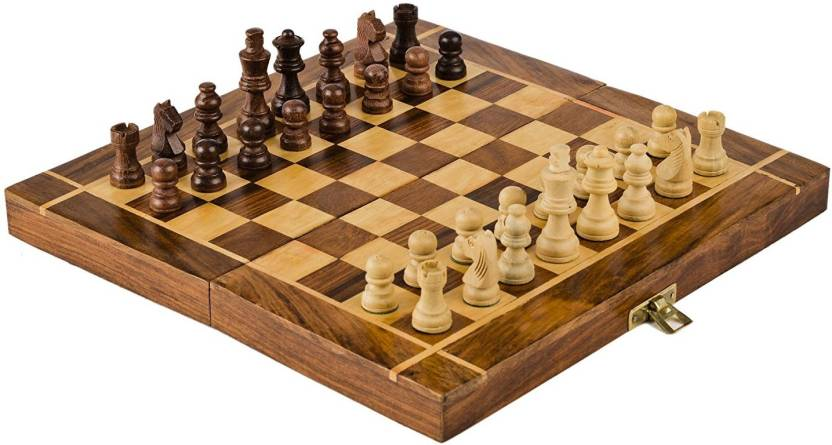 Triple S Handicrafts 12x12 Inch Wooden Folding Chess Board Game