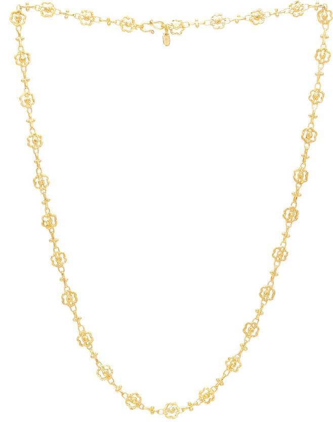 Memoir Brass Gold Flower Shape Handmade Chain Necklace Women Gold