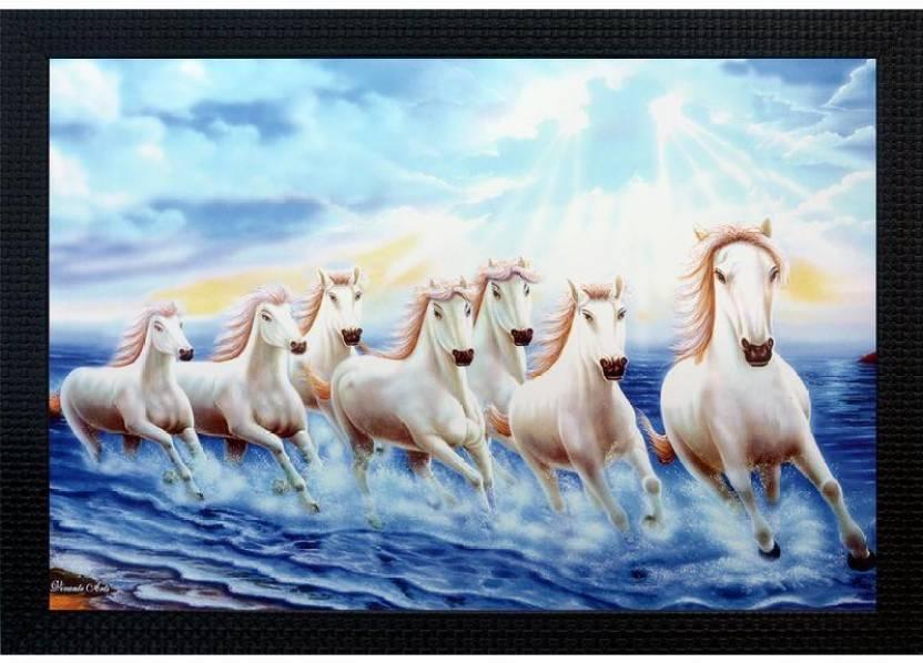 Janki Lucky White Seven 7 Running Horses Vastu Wall Painting