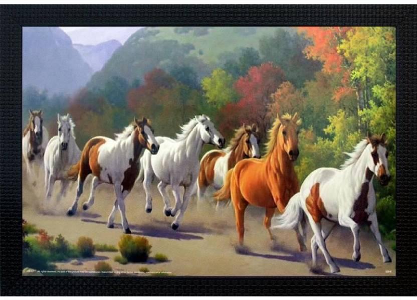 Janki Lucky Seven 7 Running Horses Vastu Wall Painting Canvas