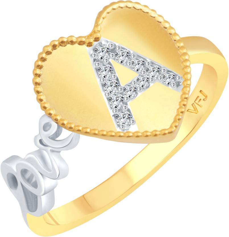 vighnaharta valentine love a letter in heart alloy cubic zirconia