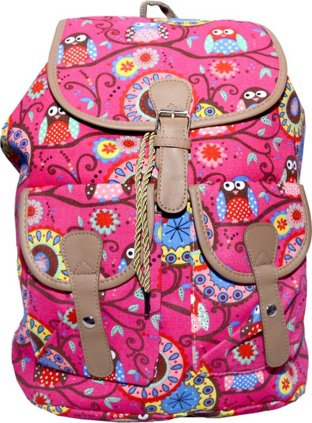 64967ce34acfc Ruff Multi Coloured School bag Printed Backpack Casual Style Women Backpack  Bags Double-Shoulder Sweet Stripe Canvas School Collage Travel Bag Girls ...
