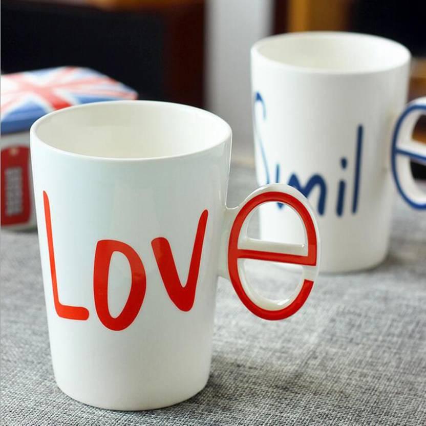 b27d488825 BonZeal Creative Alphabet Love Couple Drinking Ceramic Milk Tea Coffee  White Cup with Handgrip (Set of 2) Ceramic Mug (200 ml, Pack of 2)
