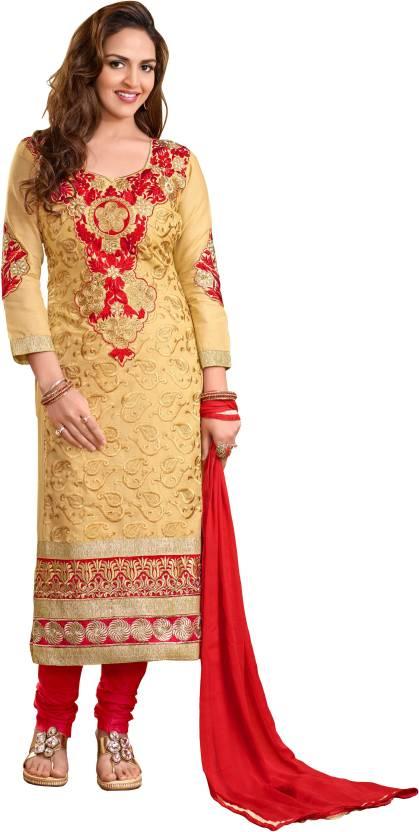 838d16ccf4 Women Latest Fancy Designer Salwar Suit Cotton Embroidered Salwar Suit  Dupatta Material (Un-stitched)