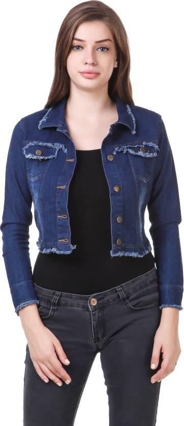 f0db659ada3 Clo Clu Full Sleeve Solid Women Denim Jacket - Buy BLUE Clo Clu Full ...