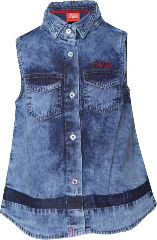 e479f409a2 Tales   Stories Girls Casual Denim Shirt Style Top Price in India ...