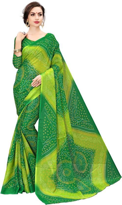 1686d13612380 Buy Sariya Woven Bandhani Printed Silk Green Sarees Online   Best ...