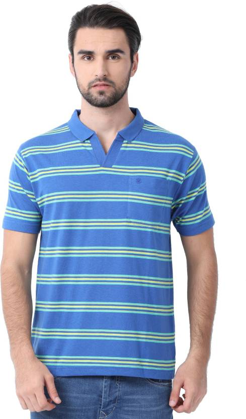 1e505d38 Classic Polo Striped Men Polo Neck Blue T-Shirt - Buy Classic Polo Striped  Men Polo Neck Blue T-Shirt Online at Best Prices in India | Flipkart.com