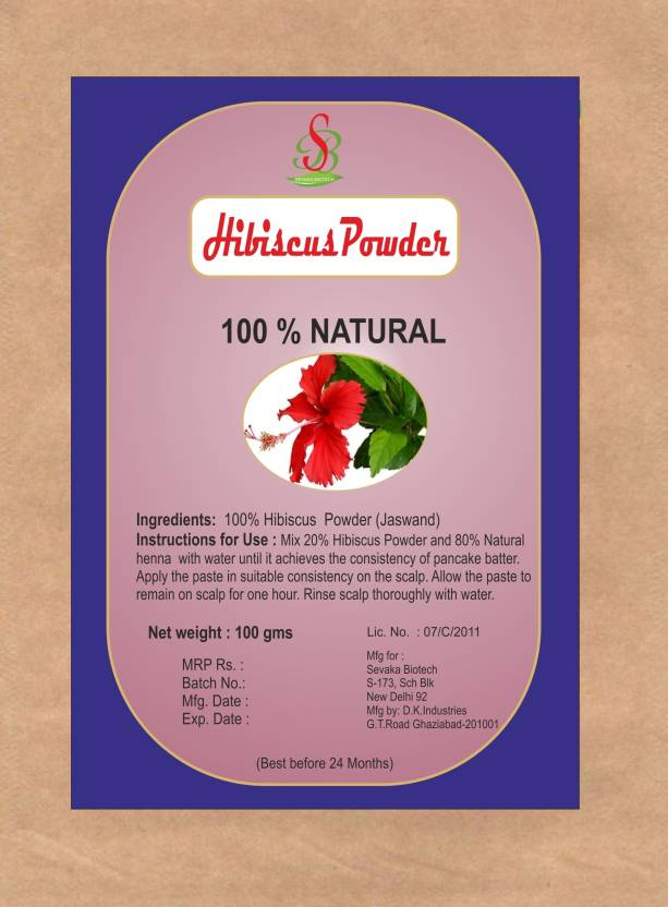 Sevaka Biotech Herbal Hibiscus Flower Powder 100 Gm Hair Color