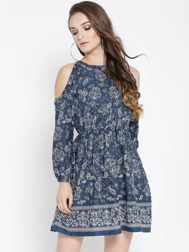 dc267722ceb64 Sera Women Fit and Flare Blue Dress - Buy Sera Women Fit and Flare Blue Dress  Online at Best Prices in India
