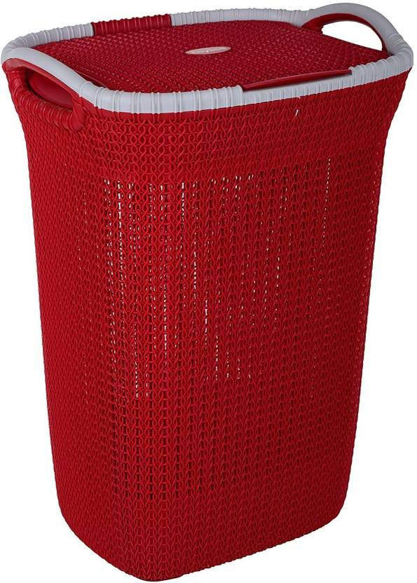 Nayasa More Than 20 L Red Laundry Basket Plastic