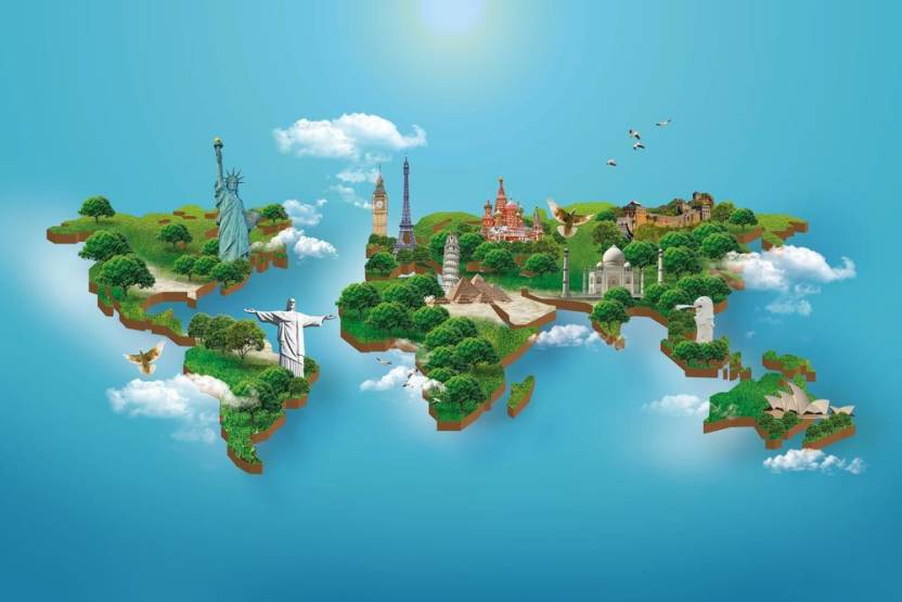 3D World Map Peel and Stick Wall Poster (48 X 72 Inch ) Paper