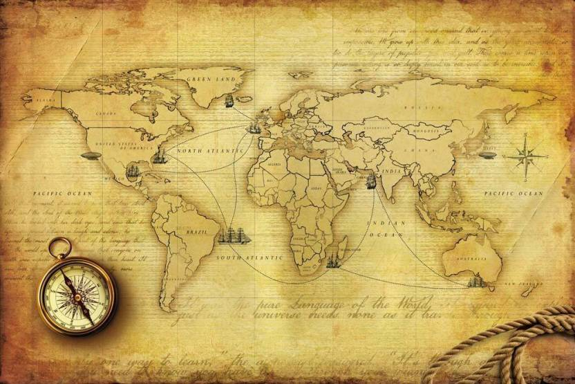 Vintage World Map Peel and Stick Wall Poster ( 40 X 60 Inch ) Paper ...