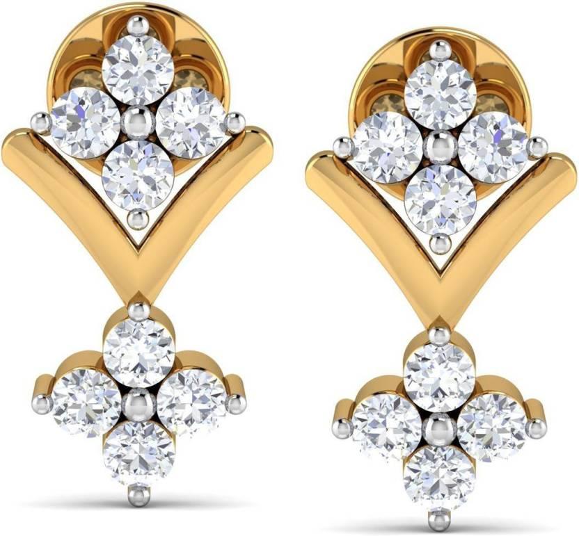 Avnni By Nakshatra Designer Yellow Gold 14kt Diamond Stud