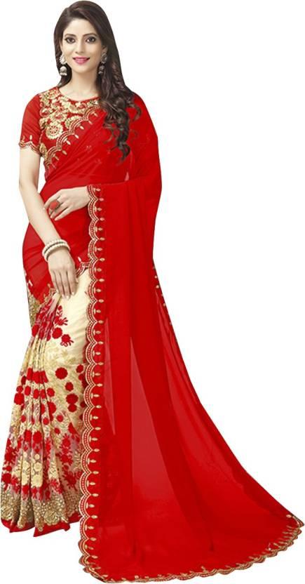 Buy Craftsvilla Embroidered Fashion Georgette Red Gold Sarees