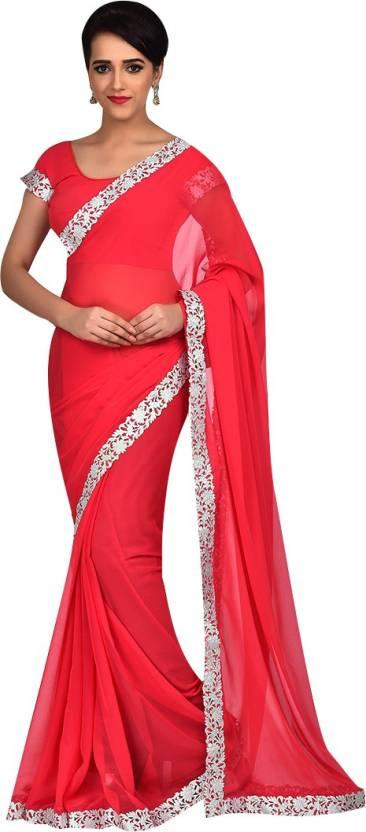 523e1cc304e37e Buy Craftsvilla Embroidered Fashion Georgette Red Sarees Online ...
