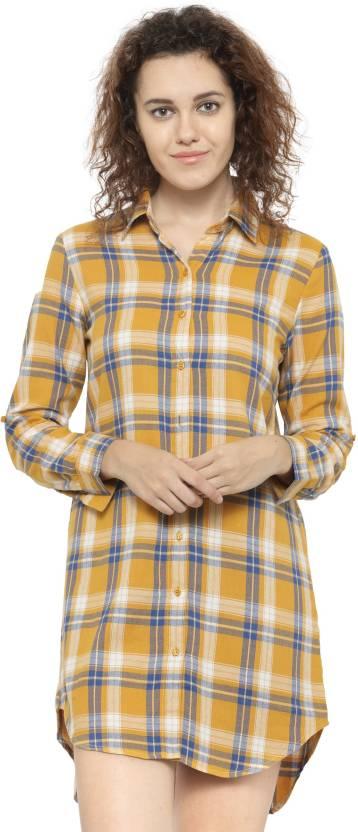 Hive91 Women's Checkered Casual Yellow Shirt