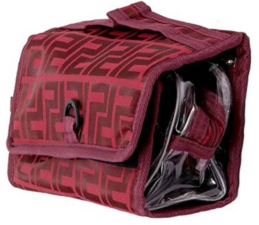 7f9e58668d3e Kuber Industries Foldable Make Up Kit - Cosmetic Organizer - Jewellery Bag  Travel Toiletry Kit (Maroon)