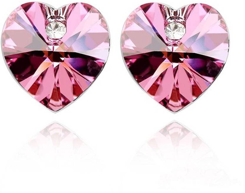Flipkart.com - Buy Yellow Chimes Crystals from Swarovski Pink Heart  Earrings Swarovski Crystal Crystal Stud Earring Online at Best Prices in  India 3e551d1d489c