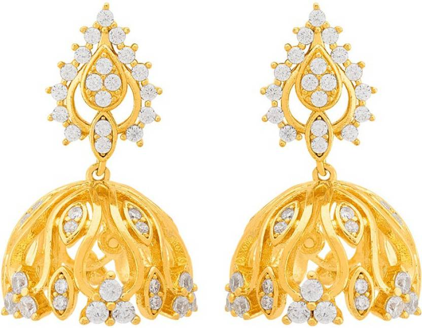 ff55b63cc Flipkart.com - Buy Voylla Swarnam Gold Plating Jhumka Style Earrings Cubic  Zirconia Brass Jhumki Earring Online at Best Prices in India