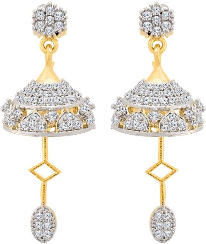 c133928da Flipkart.com - Buy Voylla Generic CZ Stunning Jhumka Earrings Cubic  Zirconia Brass Jhumki Earring Online at Best Prices in India