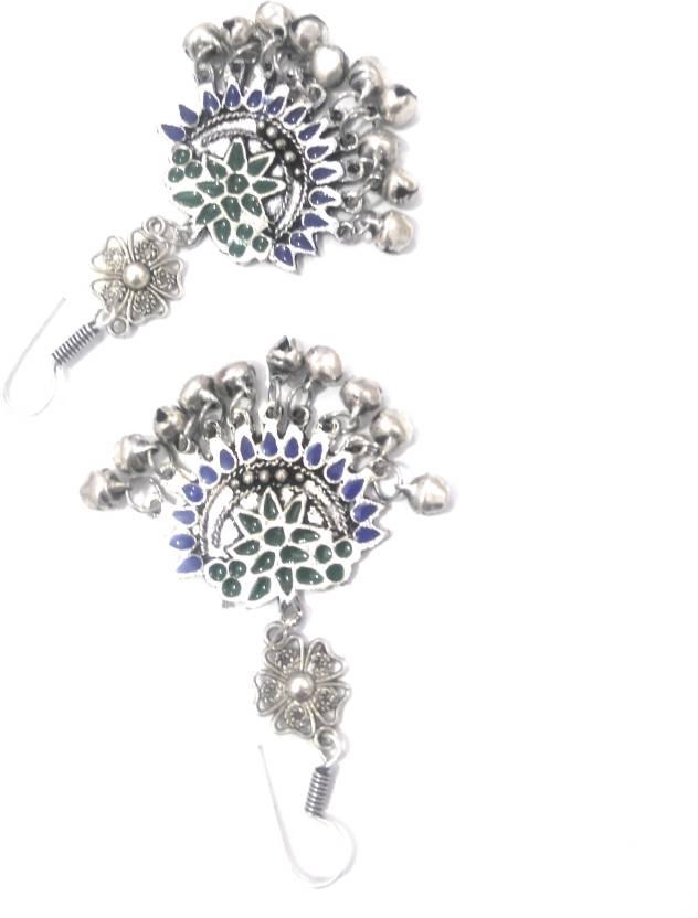 baeff5be5 Flipkart.com - Buy athizay Multicolor Afghani Jhumka oxidised silver metal  with green & Blue Enamel work. Great ladies fashion Earrings, Metal Drop  Earring ...