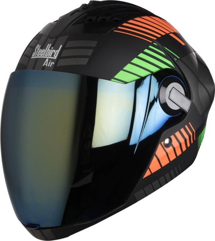 e34ce7f0 Steelbird AIR Steelbird sba 2 robot glossy orange green Motorbike Helmet  (Black, Orange, Green)