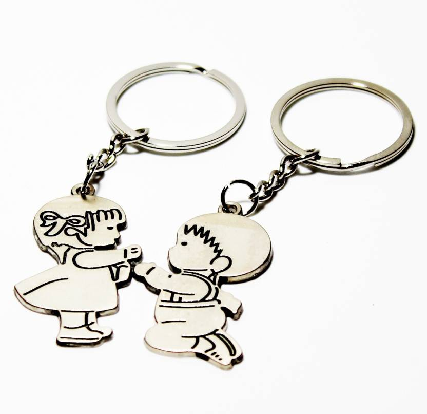2f8e79d3776 JaisBoy Romantic Happiness Couple Silver Keyring, couple keychain gift for  boyfriend & girlfriend Key Chain