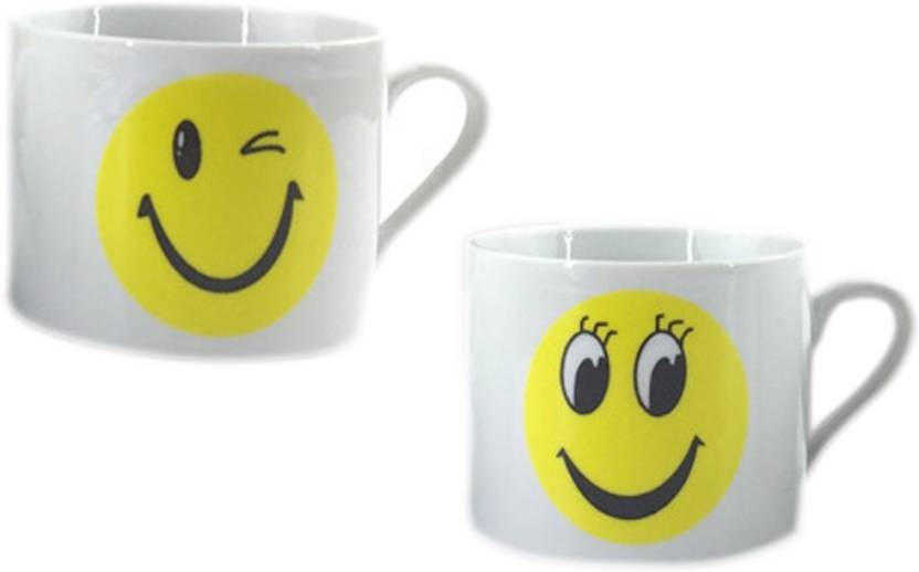 BonZeal Funny Emoji Yellow White Drinking Ceramic Tea Coffe